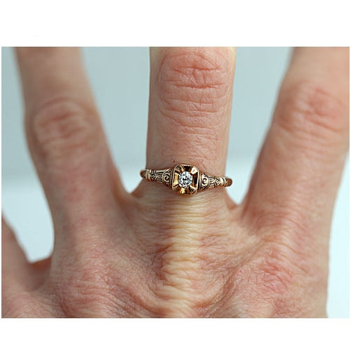 Victorian Cushion Cut Diamond Engagement Ring .15 Carat
