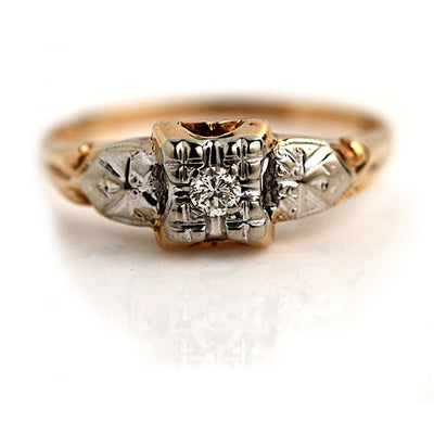 1940s Transitional Cut Filigree Engagement Ring