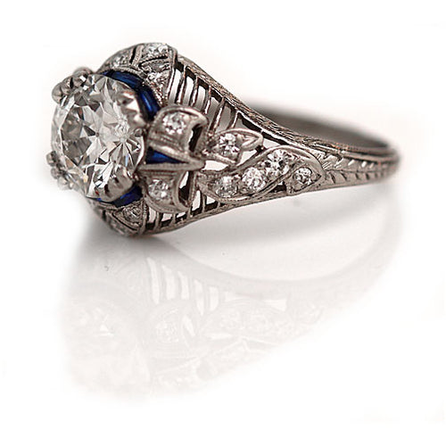 Art Deco 1.37 Carat Diamond Sapphire Platinum Ring - GIA