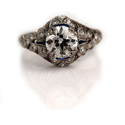 Diamond & Sapphire Platinum Engagement Ring