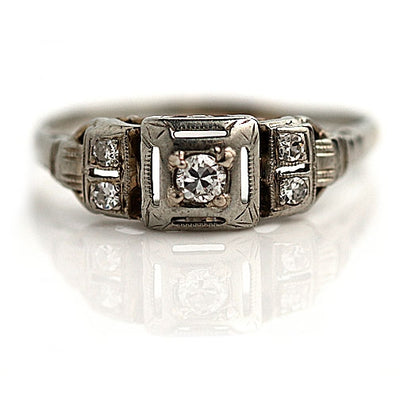 Petite Square Diamond Engagement Ring with Accent Stones