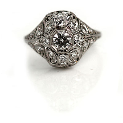 Octagon Diamond Dome Ring