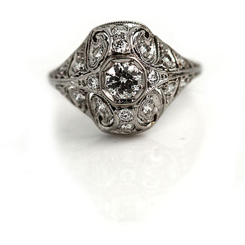Platinum Octagon Engagement Ring