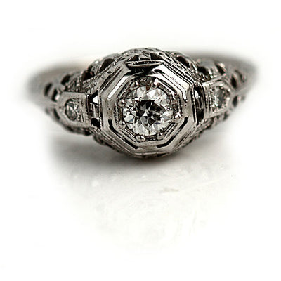 Intricate .25 ct Vintage Diamond Engagement Ring