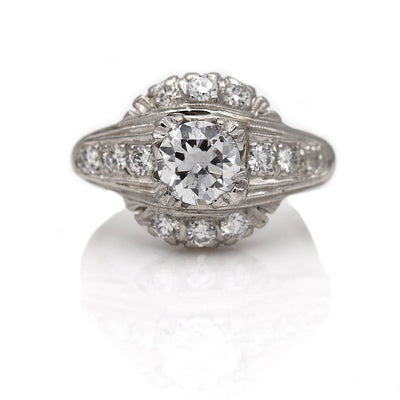 Unique Platinum Halo Engagement Ring