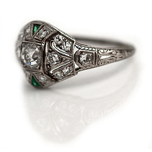 Art Deco Diamond Emerald Engagement Ring .35 Carat