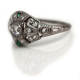 Square Set Diamond & Emerald Engagement Ring