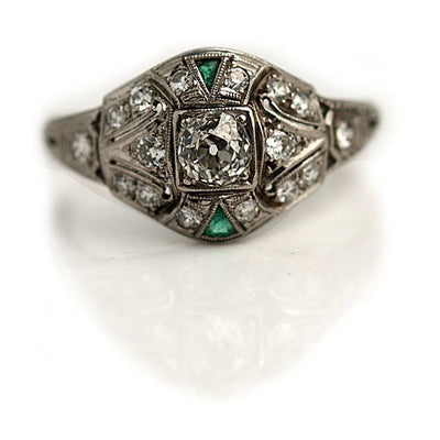 Art Deco Mine Cut Diamond & Emerald Engagement Ring