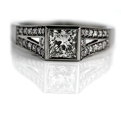 Square Box Split Shank Diamond Engagement Ring