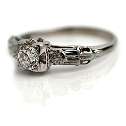 Art Deco White Gold Engagement Ring with Filigree Band