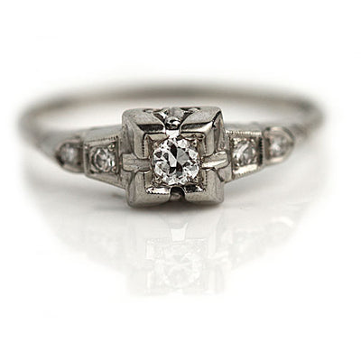 Classic Diamond Engagement Ring Circa 1930's