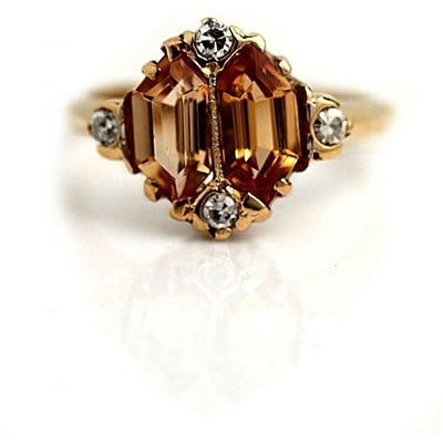 Vintage Kite Shape Topaz Engagement Ring - Vintage Diamond Ring