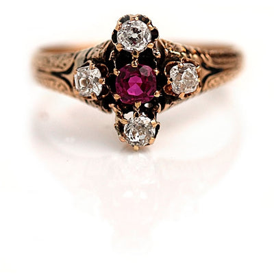 Burma Ruby & Old Mine Cut Diamond Engagement Ring - Vintage Diamond Ring