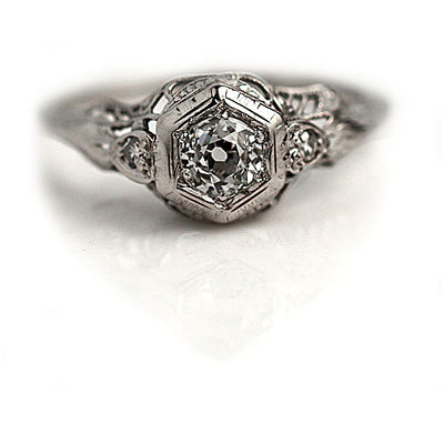 Hexagon Set Diamond Engagement Ring