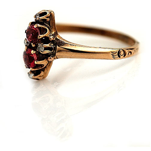 Vintage Garnet Rose Gold Engagement Ring