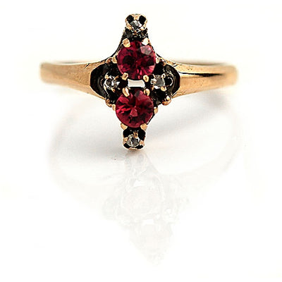 Garnet & Rose Cut Diamond Engagement Ring - Vintage Diamond Ring
