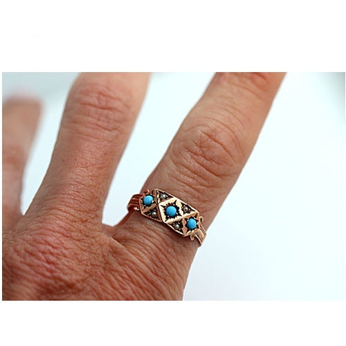 Victorian Turquoise and Seed Pearl Engagement Ring