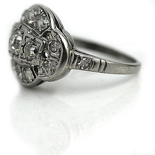 Art Deco Platinum Diamond Dome Ring