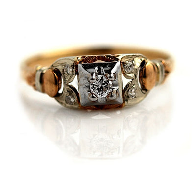 1940s Two Tone Diamond Engagement Ring