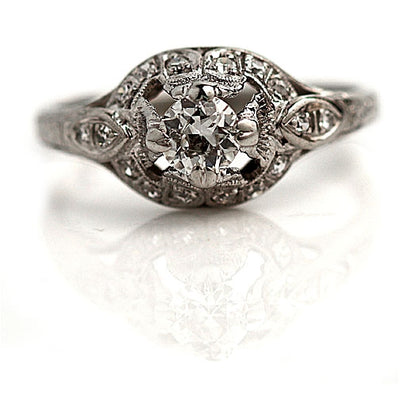 Vintage Open Faced Diamond Engagement Ring