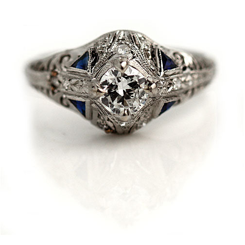 .45 Carat Art Deco Diamond Sapphire Platinum Ring
