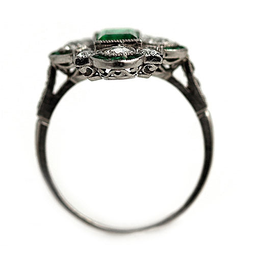 Art Deco Emerald and Diamond Platinum Ring