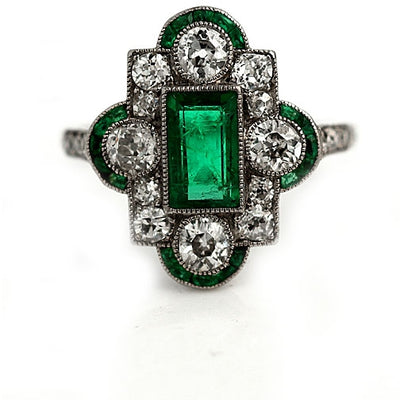 Emerald & Diamond Halo Engagement Ring - Vintage Diamond Ring