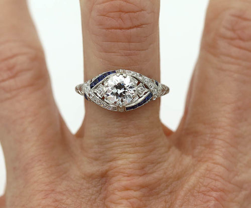 Art Deco .99 Carat Diamond and Sapphire Engagement Ring GIA E SI2