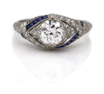 Vintage Old European Cut Diamond & Sapphire Engagement Ring