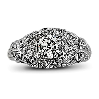 Vintage Style Round Cut Diamond Engagement Ring