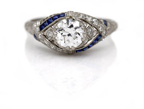 Old European Cut Diamond & Sapphire Engagement Ring