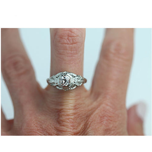 Art Deco .41 Carat GIA Diamond Engagement Ring