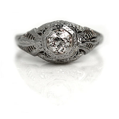 Antique Filigree Solitaire Diamond Engagement Ring
