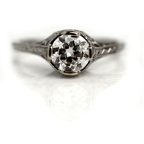 Art Deco Solitaire Engagement Ring .91 Carat