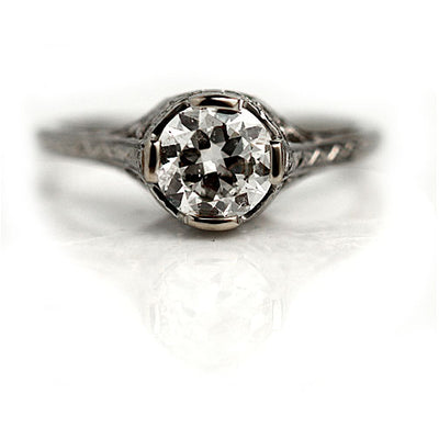 Art Deco Solitaire Engagement Ring with Heart Motif
