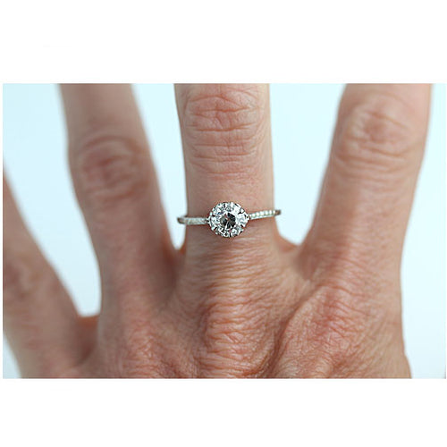 Art Deco .97 Carat GIA Solitaire Diamond Engagement Ring