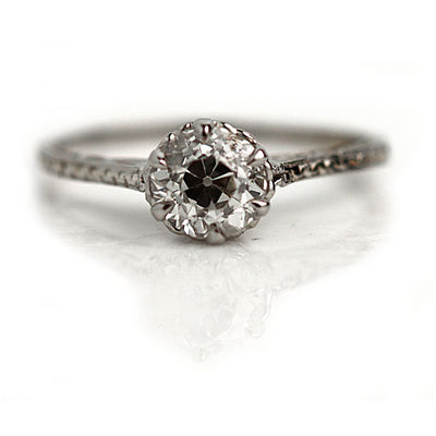 Art Deco Engraved Solitaire Diamond Engagement Ring