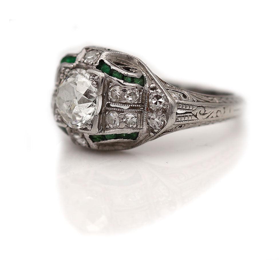 Platinum Diamond & Emerald Engagement Ring
