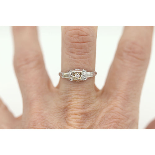 Art Deco Solitaire Engagement Ring .08 Carat