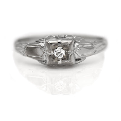 Dainty Diamond Engagement Ring with Filigree Engravings