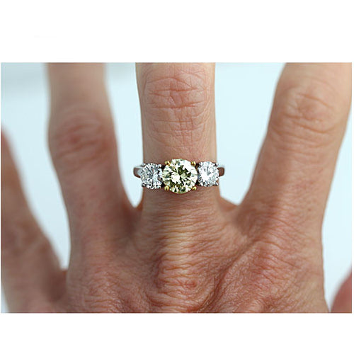 Rare Mid-Century 1.36 Carat GIA Fancy Greenish Yellow Diamond Engagement Ring
