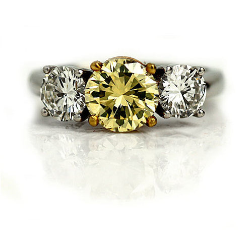 Rare Mid-Century 1.36 Carat Fancy Greenish Yellow GIA Diamond Engagement Ring