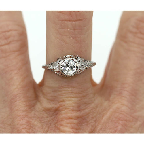Art Deco Engagement Ring .52 Carat GIA H-VS1