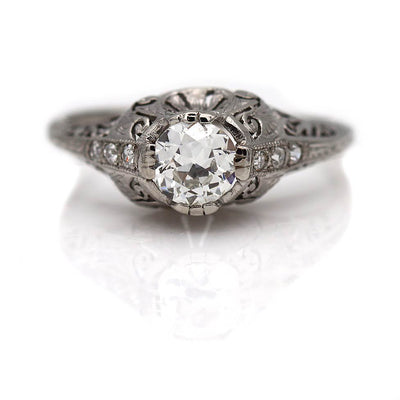 Unique Art Deco European Cut Engagement Ring