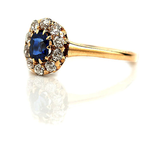 .40 Carat Vintage Sapphire Mine Cut Diamond Ring