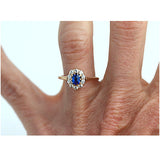 Rare Sapphire & Mine Cut Diamond Ring