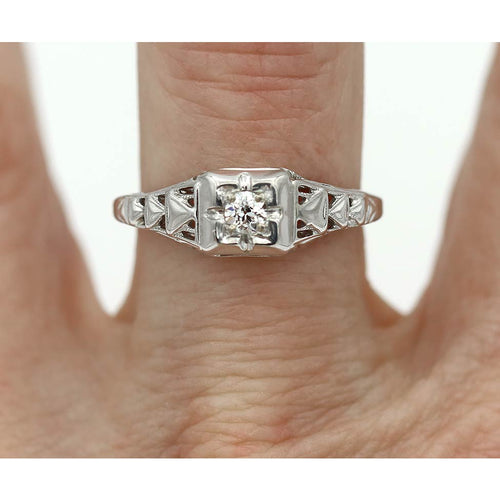 Art Deco Engagement Ring .18 Carat