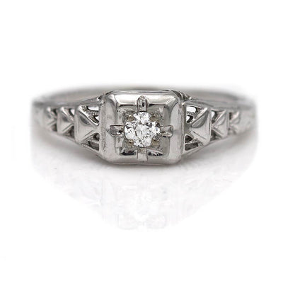 Vintage Diamond Engagement Ring with Engravings