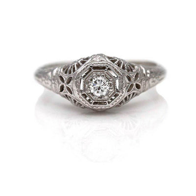 Art Deco .15 ct Diamond Engagement Ring