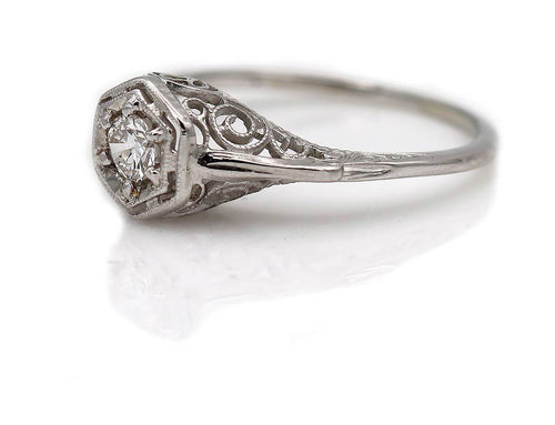 Art Deco .20 Carat Diamond Engagement Ring